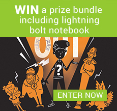 WIN a prize bundle including lightning bolt notebook