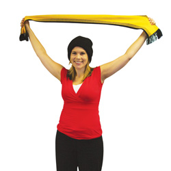 Teacher holding up football scarf