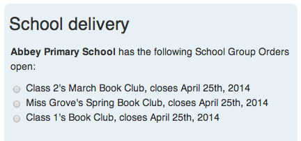 List of open Book Club orders at one school