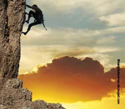 explorer climbing mountain