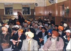 inside the gurdwara everyone sits on the floor to show they are equal