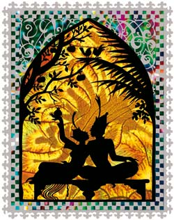 The figures represent Aladdin and his bride, the Princess al-Badur, taken from Jan Pienkowski The Thousand Nights and One Night, published by Puffin Books