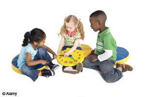 children with clock