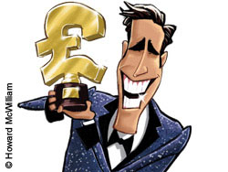 Illustration of a gameshow host