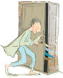 Illustration of Lizzie's dad unlocking the cupboard to his wings