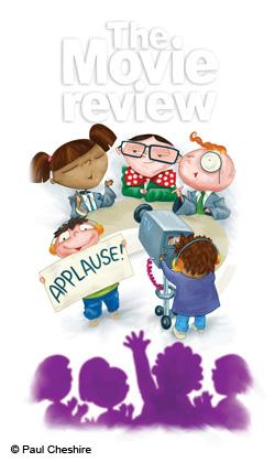 Illustration of children making film reviews